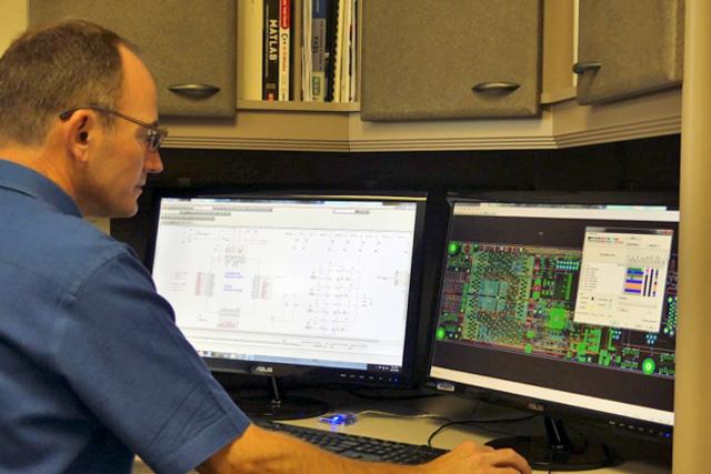 David McDaniel designing FPGA board layout